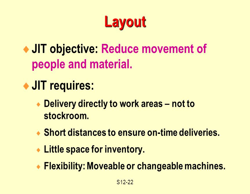 S12-22  JIT objective: Reduce movement of people and material.
