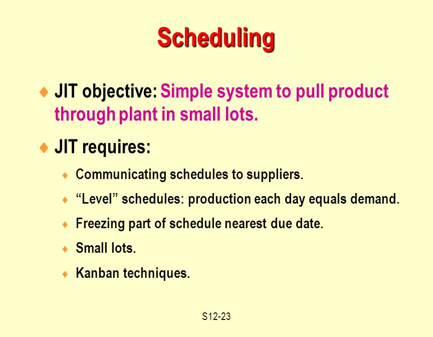 S12-23  JIT objective: Simple system to pull product through plant in small lots.