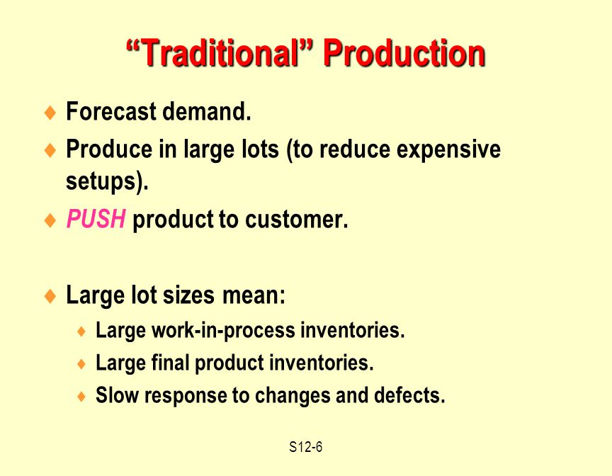 S12-6  Forecast demand.  Produce in large lots (to reduce expensive setups).