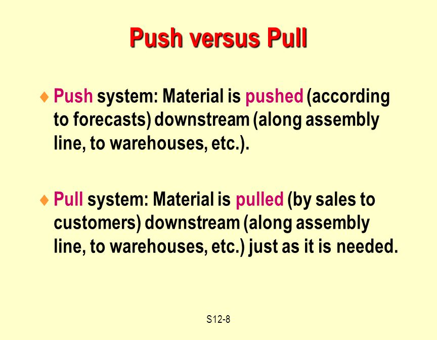 S12-8 Push versus Pull  Push system: Material is pushed (according to forecasts) downstream (along assembly line, to warehouses, etc.).