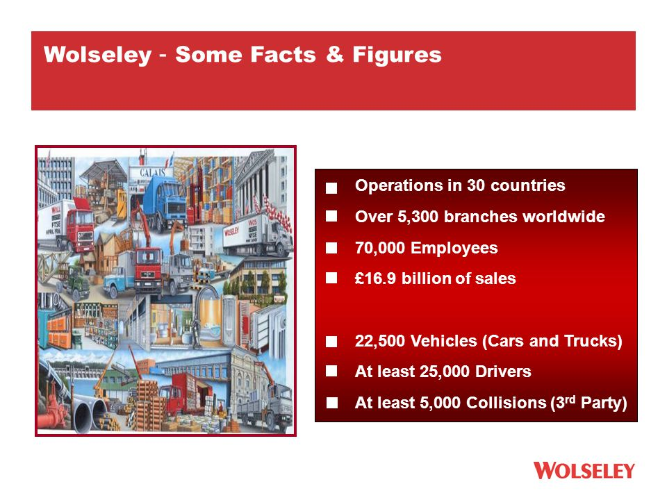 Operations in 30 countries Over 5,300 branches worldwide 70,000 Employees £16.9 billion of sales 22,500 Vehicles (Cars and Trucks) At least 25,000 Drivers At least 5,000 Collisions (3 rd Party) Wolseley – Some Facts & Figures