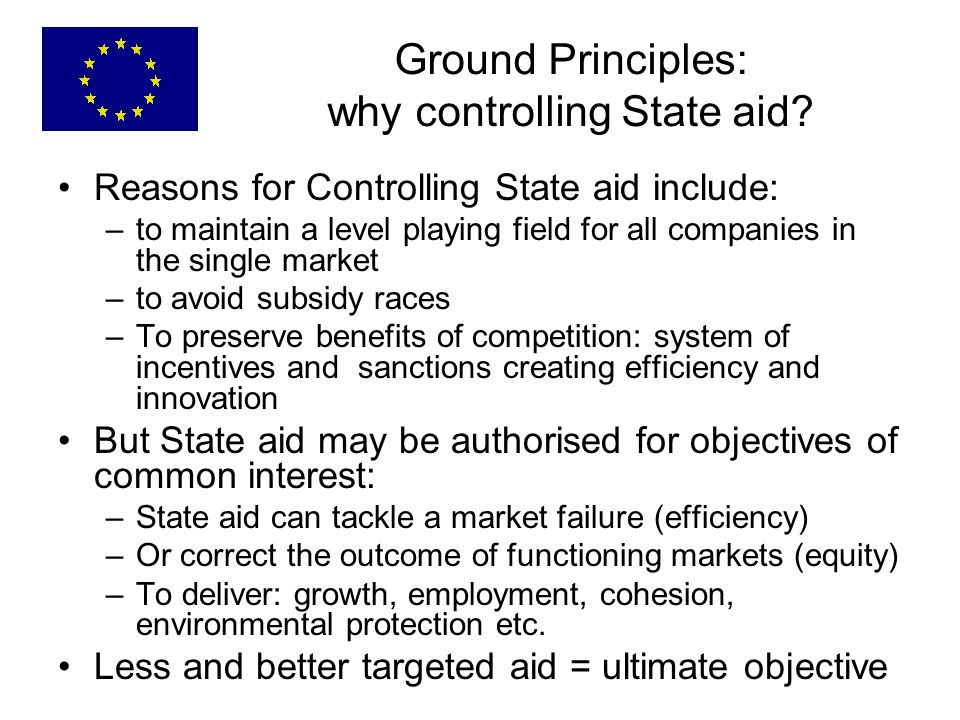 Ground Principles: why controlling State aid.