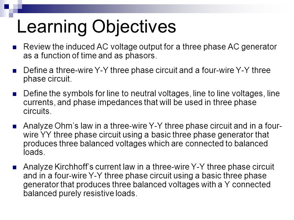 Lesson 34 3 Phase Sources Loads Learning Objectives Review The