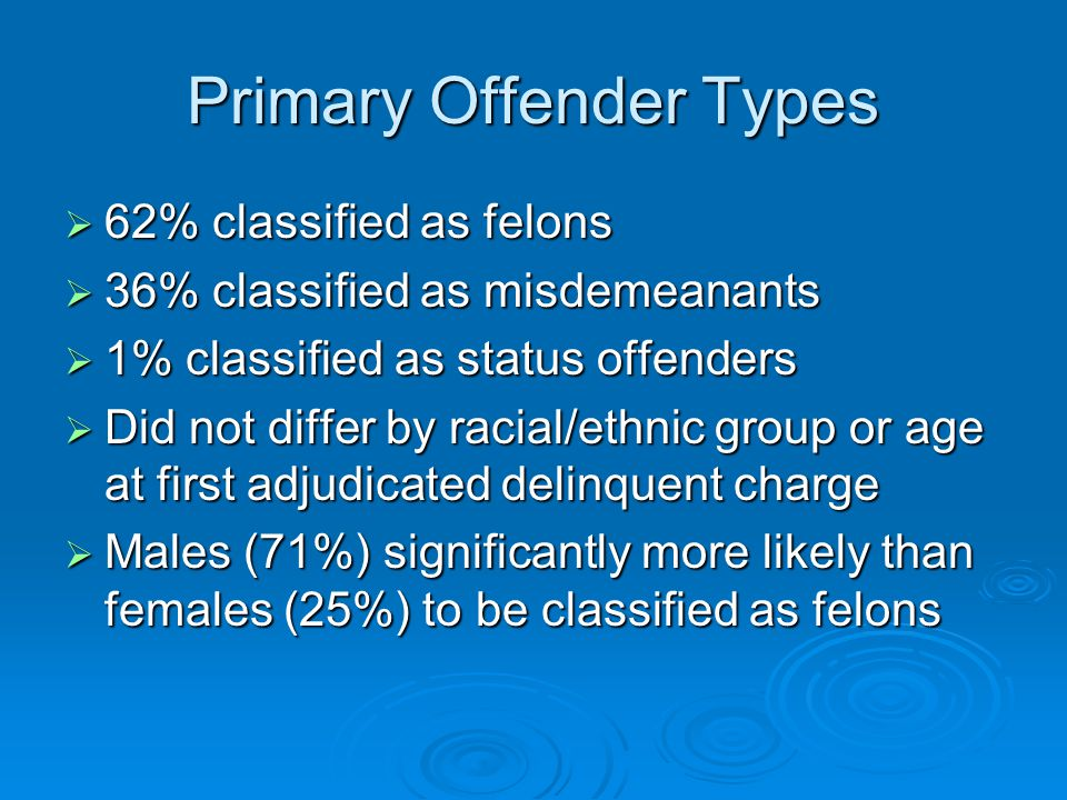 Primary Offender Types  62% classified as felons  36% classified as misdemeanants  1% classified as status offenders  Did not differ by racial/ethnic group or age at first adjudicated delinquent charge  Males (71%) significantly more likely than females (25%) to be classified as felons