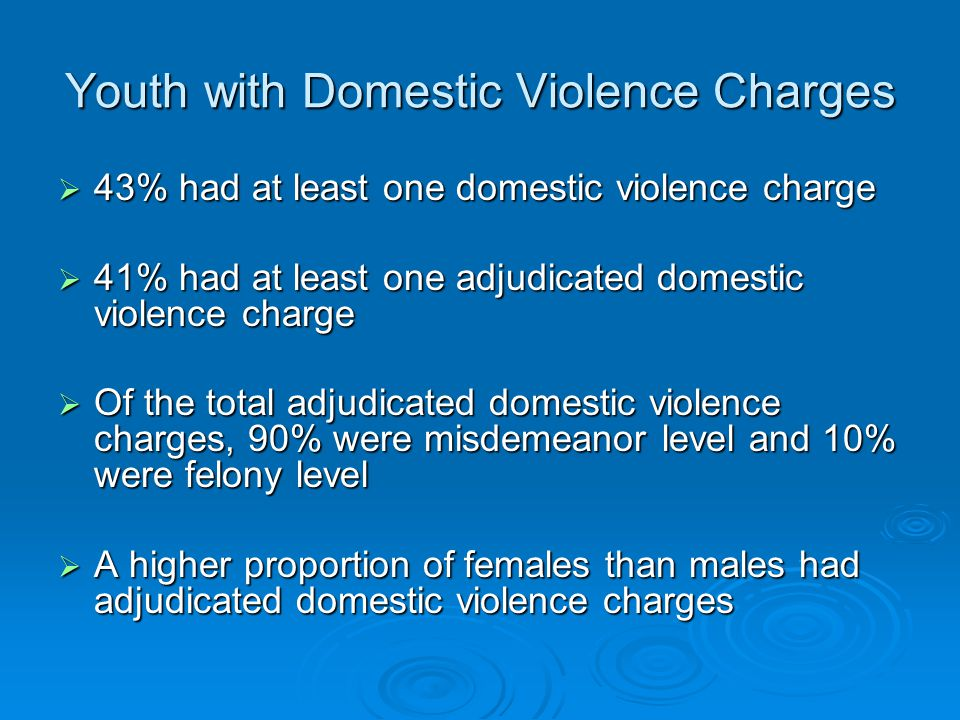 Youth with Domestic Violence Charges  43% had at least one domestic violence charge  41% had at least one adjudicated domestic violence charge  Of the total adjudicated domestic violence charges, 90% were misdemeanor level and 10% were felony level  A higher proportion of females than males had adjudicated domestic violence charges