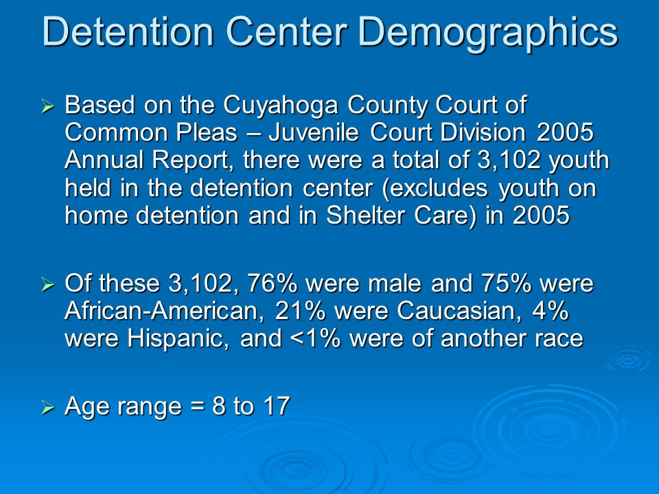 Detention Center Demographics  Based on the Cuyahoga County Court of Common Pleas – Juvenile Court Division 2005 Annual Report, there were a total of 3,102 youth held in the detention center (excludes youth on home detention and in Shelter Care) in 2005  Of these 3,102, 76% were male and 75% were African-American, 21% were Caucasian, 4% were Hispanic, and <1% were of another race  Age range = 8 to 17