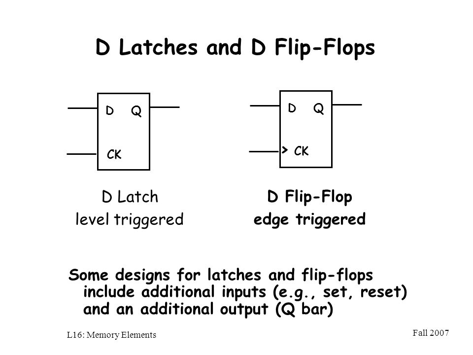 Fall 2007 L16: Memory Elements D Latches and D Flip-Flops D Latch level triggered DQ CK DQ > CK D Flip-Flop edge triggered Some designs for latches and flip-flops include additional inputs (e.g., set, reset) and an additional output (Q bar)