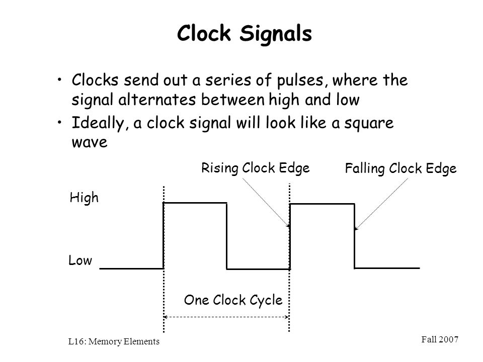 Fall 2007 L16: Memory Elements Clock Signals Clocks send out a series of pulses, where the signal alternates between high and low Ideally, a clock signal will look like a square wave High Low Rising Clock Edge Falling Clock Edge One Clock Cycle