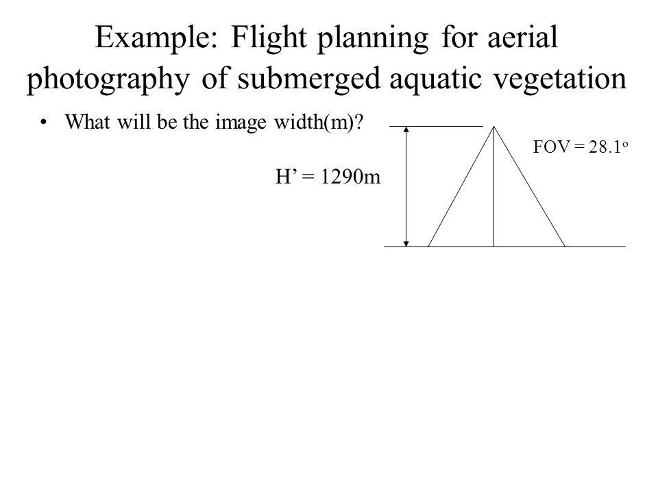example: flight planning for aerial photography of submerged aquatic  vegetation what will be the image
