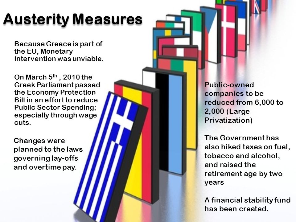 Austerity Measures Because Greece is part of the EU, Monetary Intervention was unviable.