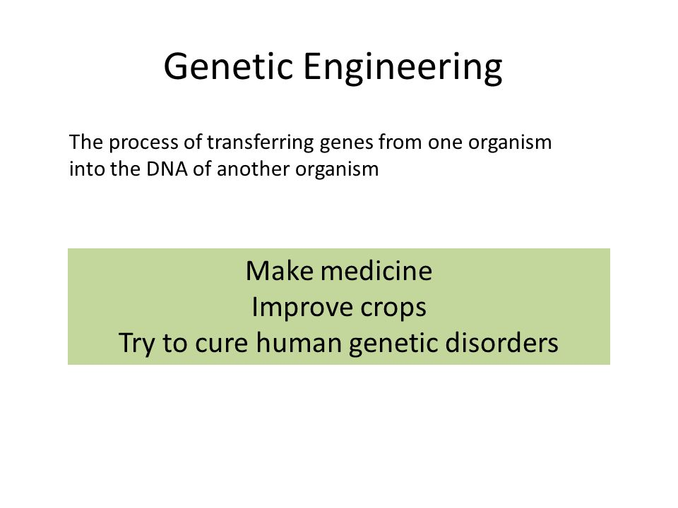 Genetic Engineering The process of transferring genes from one organism into the DNA of another organism Make medicine Improve crops Try to cure human genetic disorders