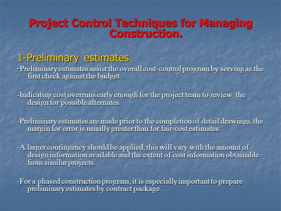 cost control techniques in construction