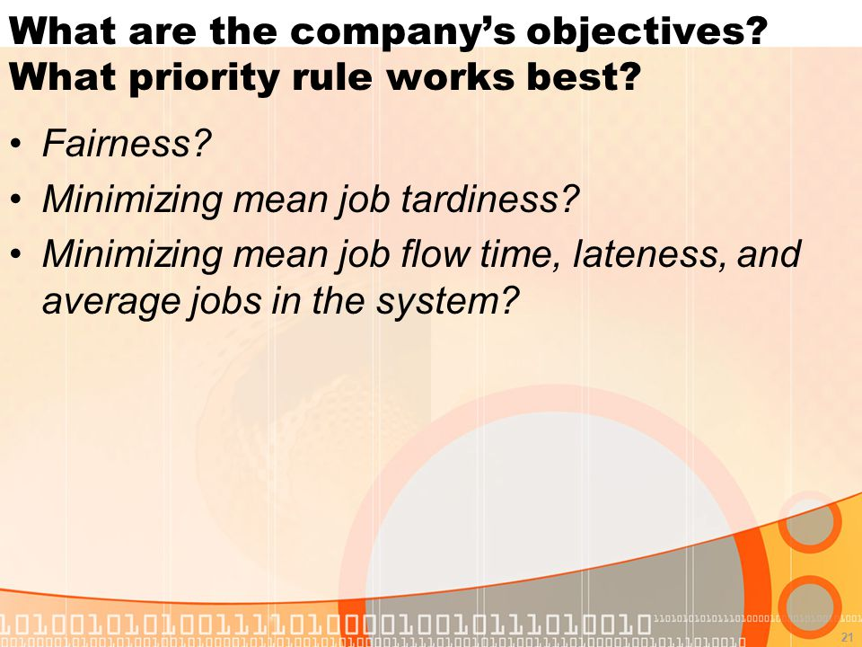 21 What are the company's objectives. What priority rule works best.