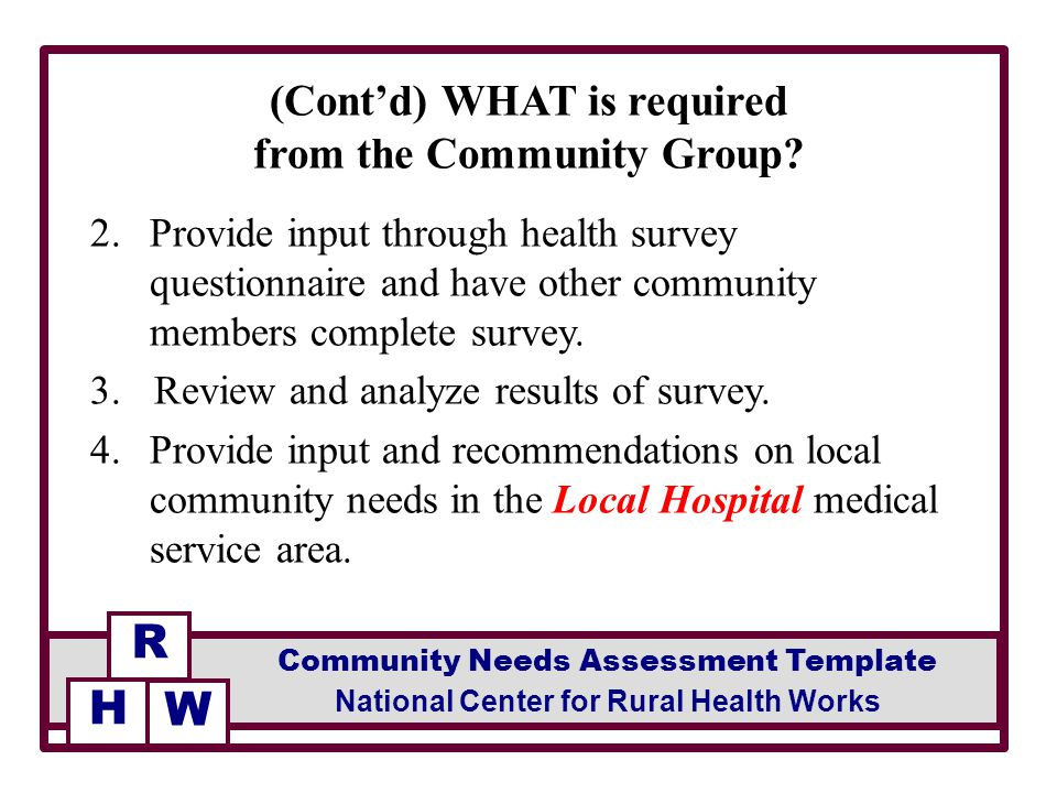 Facilitated by facilitator community needs assessment template provide input through health survey questionnaire and have other community members complete survey maxwellsz