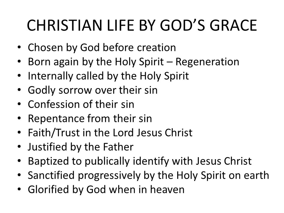 CHRISTIAN LIFE BY GOD'S GRACE Chosen by God before creation Born again by the Holy Spirit – Regeneration Internally called by the Holy Spirit Godly sorrow over their sin Confession of their sin Repentance from their sin Faith/Trust in the Lord Jesus Christ Justified by the Father Baptized to publically identify with Jesus Christ Sanctified progressively by the Holy Spirit on earth Glorified by God when in heaven