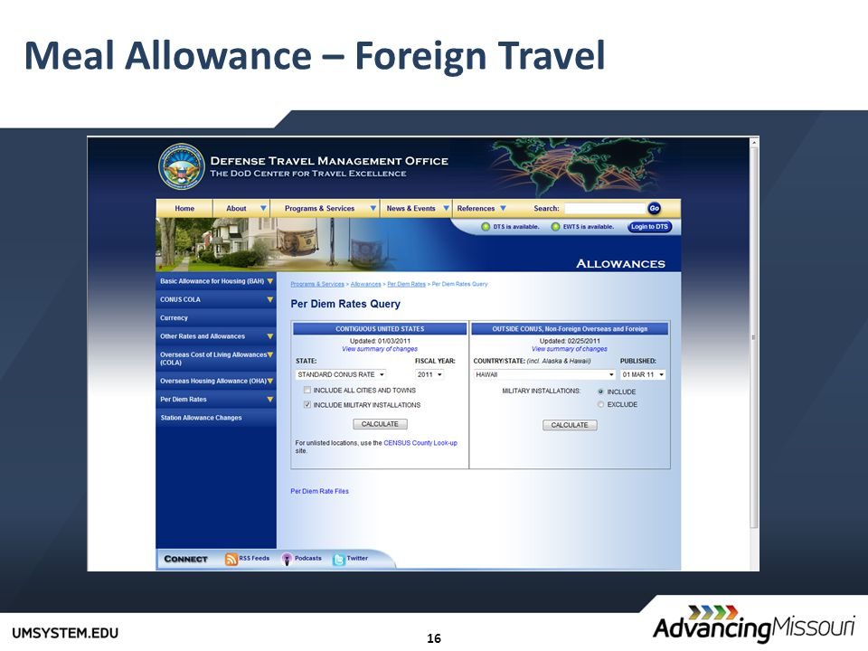 16 Meal Allowance – Foreign Travel