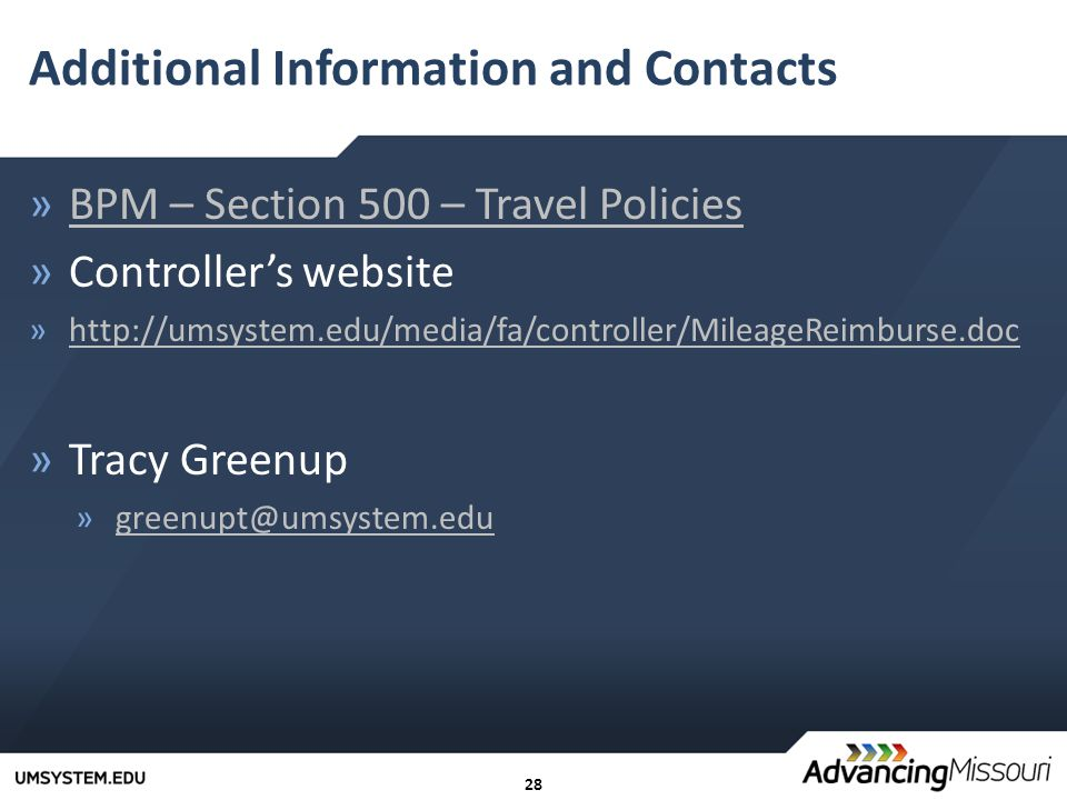 28 Additional Information and Contacts »BPM – Section 500 – Travel PoliciesBPM – Section 500 – Travel Policies »Controller's website »  »Tracy Greenup