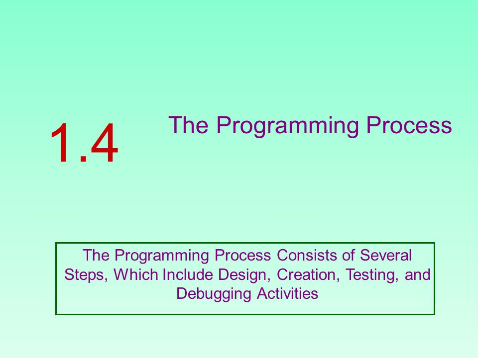 The Programming Process 1.4 The Programming Process Consists of Several Steps, Which Include Design, Creation, Testing, and Debugging Activities