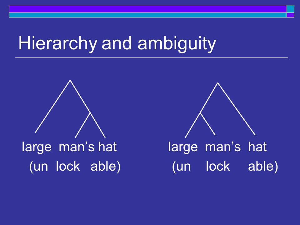 Hierarchy and ambiguity large man's hatlarge man's hat (un lock able) (un lock able)