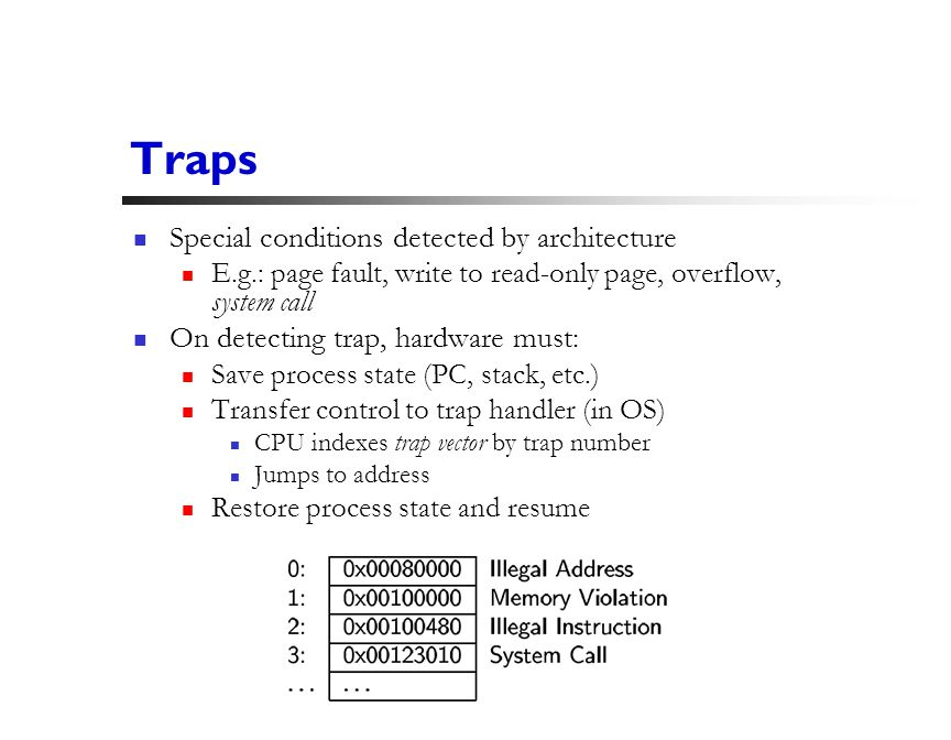 14 Traps Special conditions detected by architecture E.g.: page fault, write to read-only page, overflow, system call On detecting trap, hardware must: Save process state (PC, stack, etc.) Transfer control to trap handler (in OS) CPU indexes trap vector by trap number Jumps to address Restore process state and resume