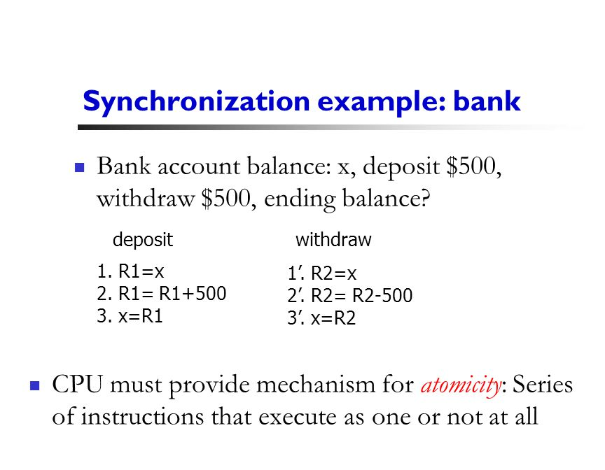 19 Synchronization example: bank CPU must provide mechanism for atomicity: Series of instructions that execute as one or not at all Bank account balance: x, deposit $500, withdraw $500, ending balance.