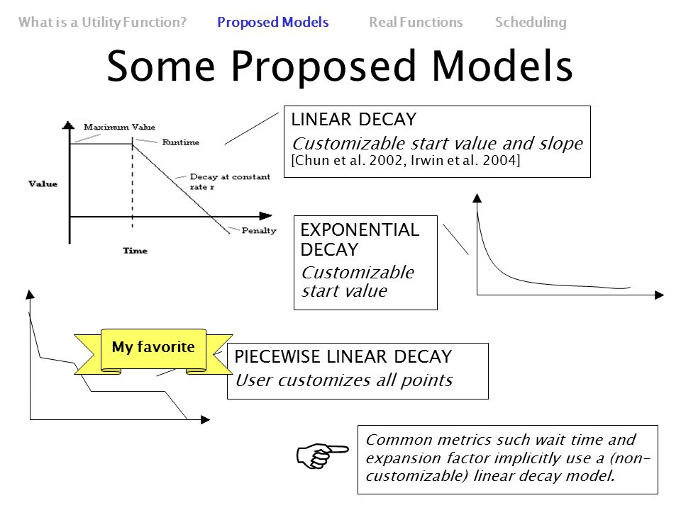 Some Proposed Models What is a Utility Function.