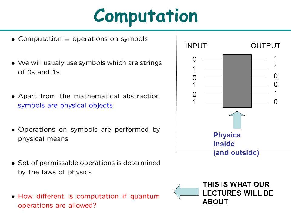 Quantum Algorithms Preliminaria Artur Ekert Computation Input