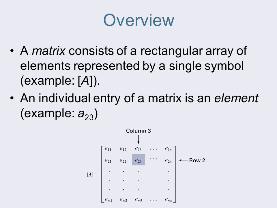 Overview A matrix consists of a rectangular array of elements represented by a single symbol (example: [A]).