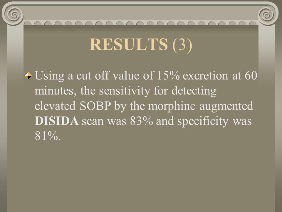 RESULTS (3) Using a cut off value of 15% excretion at 60 minutes, the sensitivity for detecting elevated SOBP by the morphine augmented DISIDA scan was 83% and specificity was 81%.