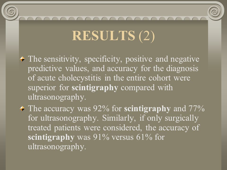 RESULTS (2) The sensitivity, specificity, positive and negative predictive values, and accuracy for the diagnosis of acute cholecystitis in the entire cohort were superior for scintigraphy compared with ultrasonography.
