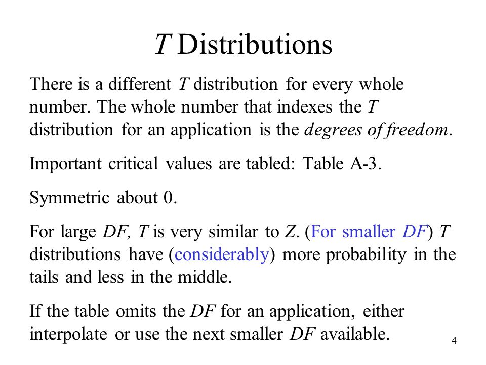 4 T Distributions There is a different T distribution for every whole number.
