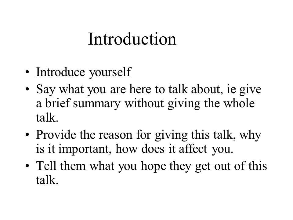 What to talk about when introducing yourself
