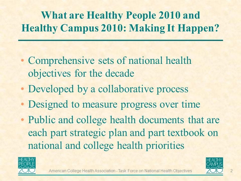 American College Health Association - Task Force on National Health Objectives2 What are Healthy People 2010 and Healthy Campus 2010: Making It Happen.
