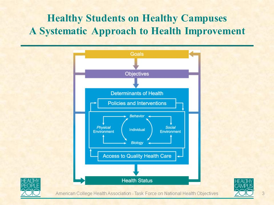 American College Health Association - Task Force on National Health Objectives3 Healthy Students on Healthy Campuses A Systematic Approach to Health Improvement