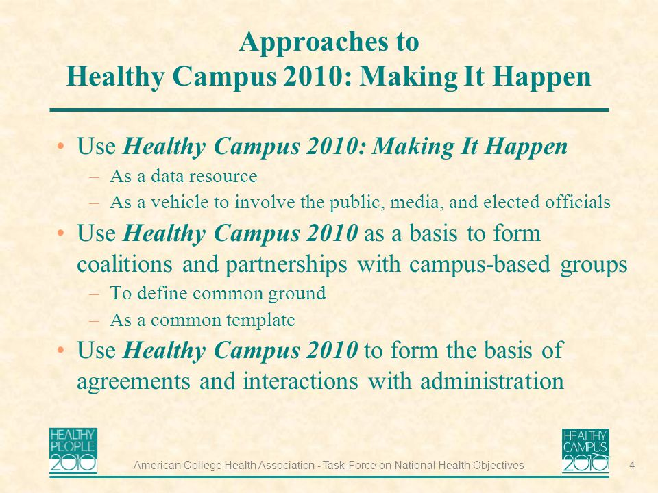 American College Health Association - Task Force on National Health Objectives4 Approaches to Healthy Campus 2010: Making It Happen Use Healthy Campus 2010: Making It Happen –As a data resource –As a vehicle to involve the public, media, and elected officials Use Healthy Campus 2010 as a basis to form coalitions and partnerships with campus-based groups –To define common ground –As a common template Use Healthy Campus 2010 to form the basis of agreements and interactions with administration