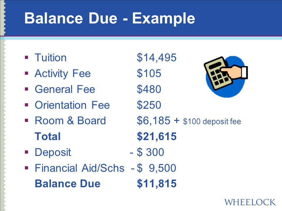 Balance Due - Example  Tuition$14,495  Activity Fee$105  General Fee$480  Orientation Fee$250  Room & Board $6,185 + $100 deposit fee Total$21,615  Deposit -$ 300  Financial Aid/Schs -$ 9,500 Balance Due$11,815