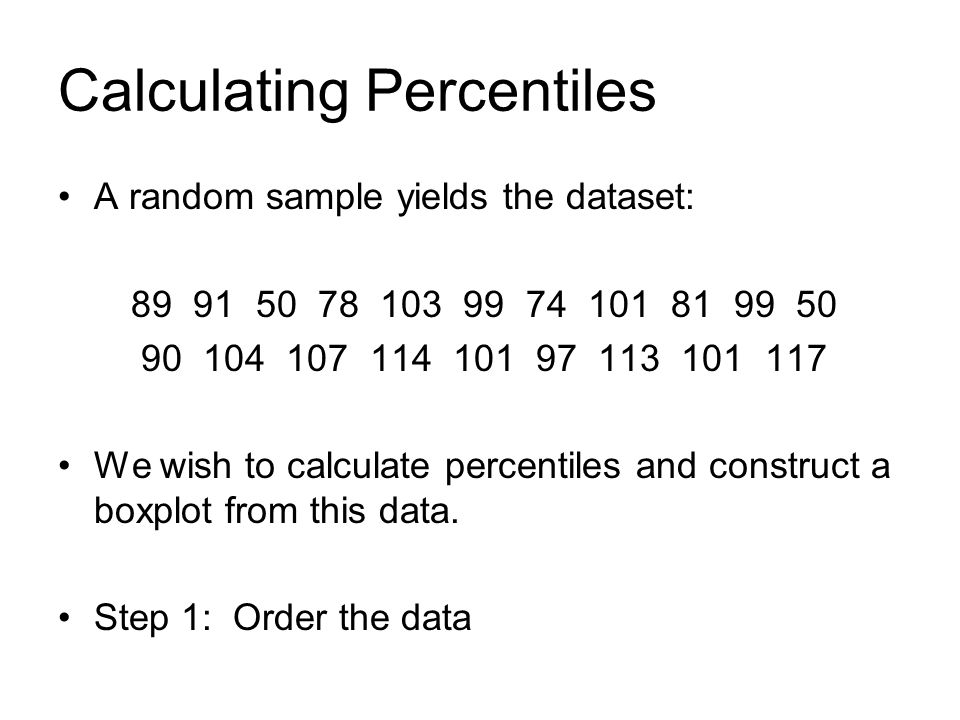 Percentiles Def: The kth percentile is the value such that