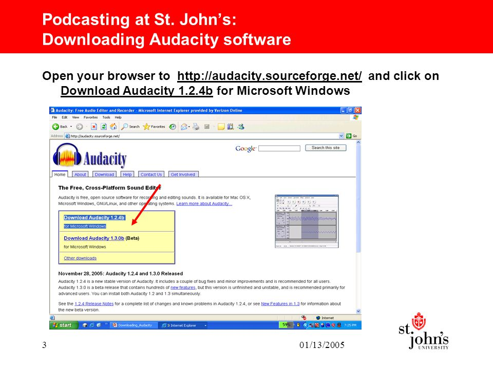 Podcasting at St  John's: Downloading Audacity software Kathryn