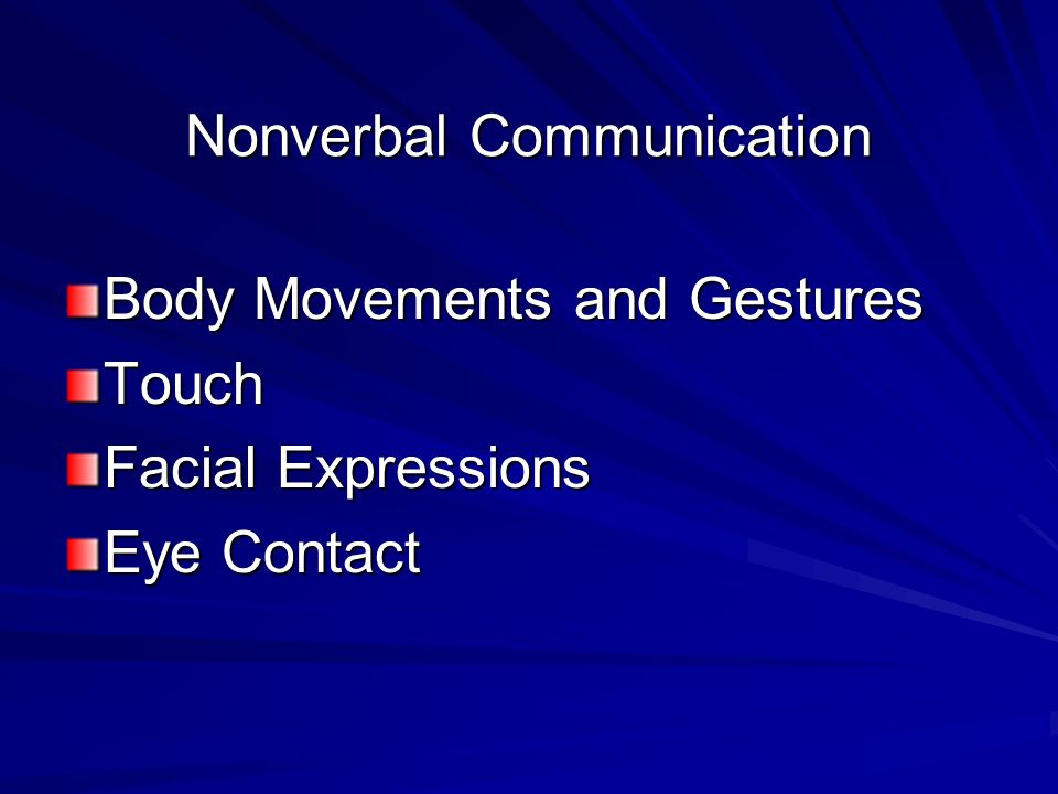 Nonverbal Communication Body Movements and Gestures Touch Facial Expressions Eye Contact