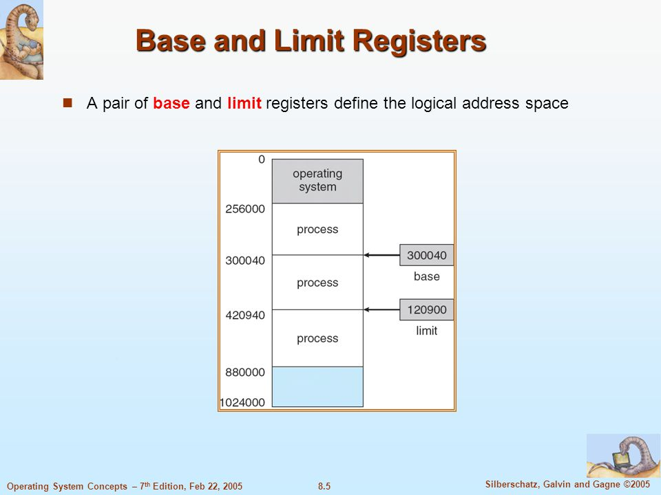 8.5 Silberschatz, Galvin and Gagne ©2005 Operating System Concepts – 7 th Edition, Feb 22, 2005 Base and Limit Registers A pair of base and limit registers define the logical address space