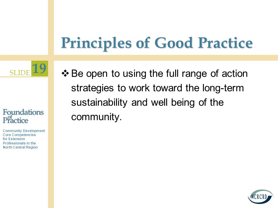 Community Development Core Competencies for Extension Professionals in the North Central Region SLIDE 19 Principles of Good Practice  Be open to using the full range of action strategies to work toward the long-term sustainability and well being of the community.