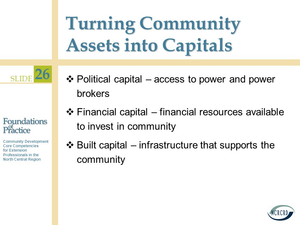 Community Development Core Competencies for Extension Professionals in the North Central Region SLIDE 26 Turning Community Assets into Capitals  Political capital – access to power and power brokers  Financial capital – financial resources available to invest in community  Built capital – infrastructure that supports the community