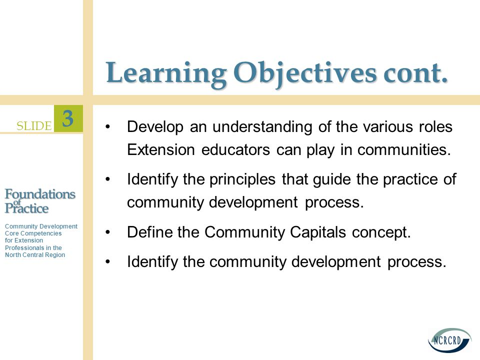 Community Development Core Competencies for Extension Professionals in the North Central Region SLIDE 3 Learning Objectives cont.