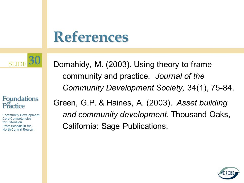 Community Development Core Competencies for Extension Professionals in the North Central Region SLIDE 30 References Domahidy, M.