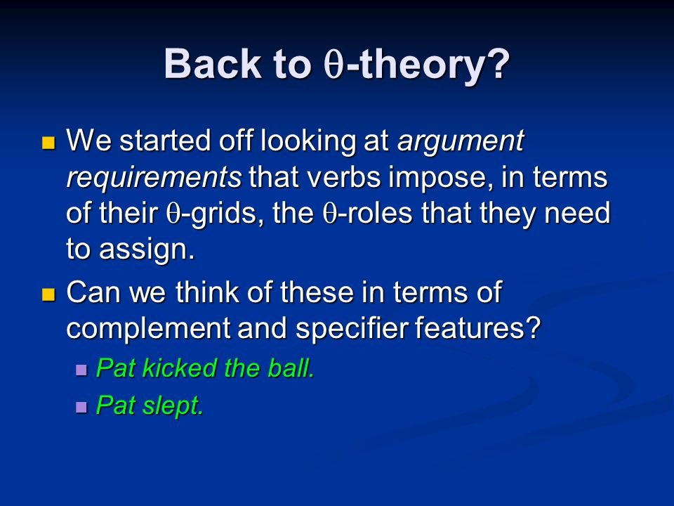 Back to  -theory.