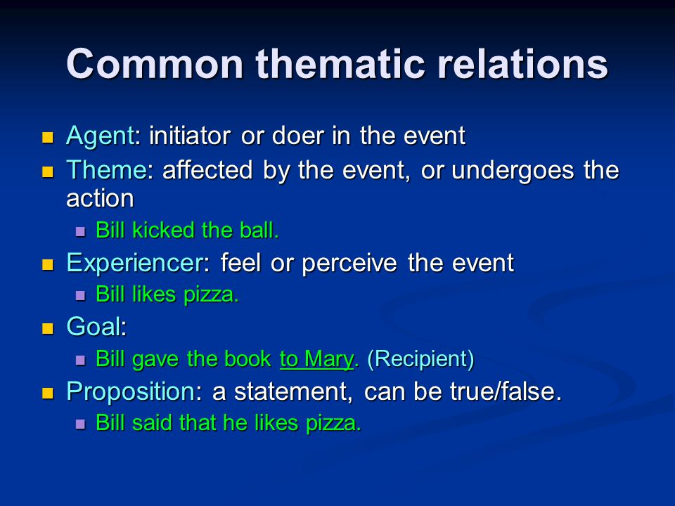 Common thematic relations Agent: initiator or doer in the event Agent: initiator or doer in the event Theme: affected by the event, or undergoes the action Theme: affected by the event, or undergoes the action Bill kicked the ball.