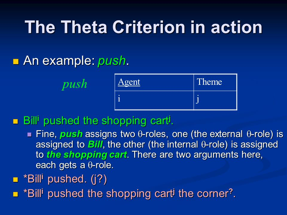 The Theta Criterion in action An example: push. An example: push.