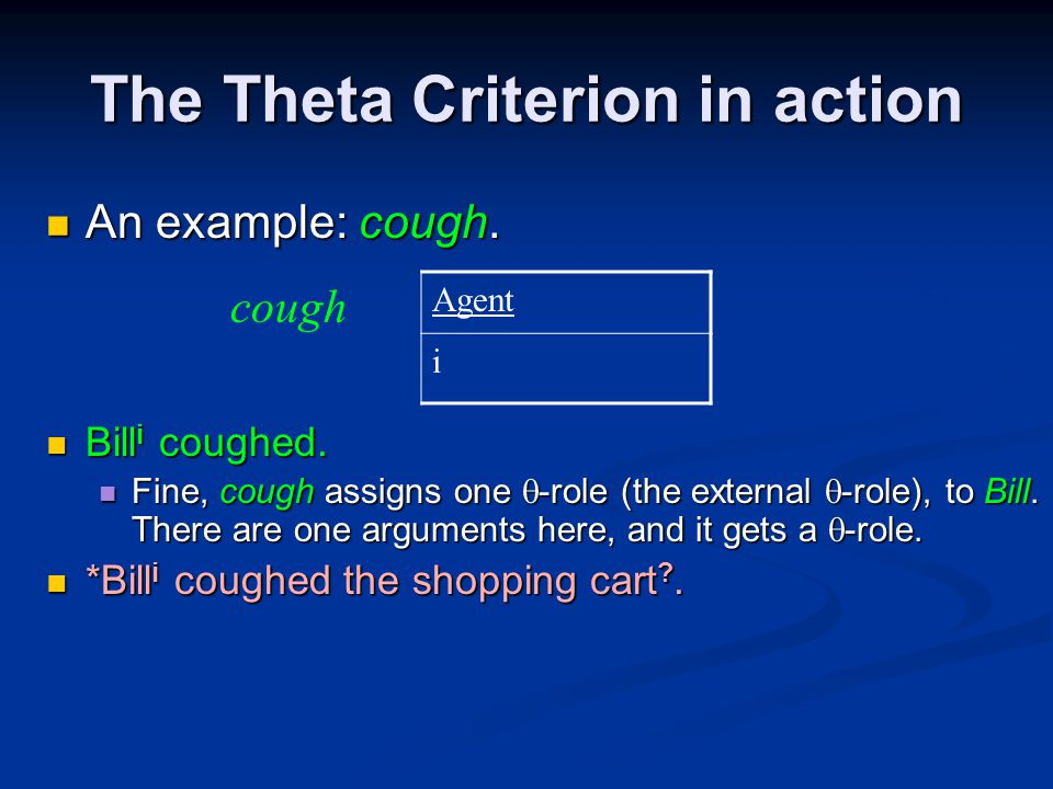 The Theta Criterion in action An example: cough. An example: cough.
