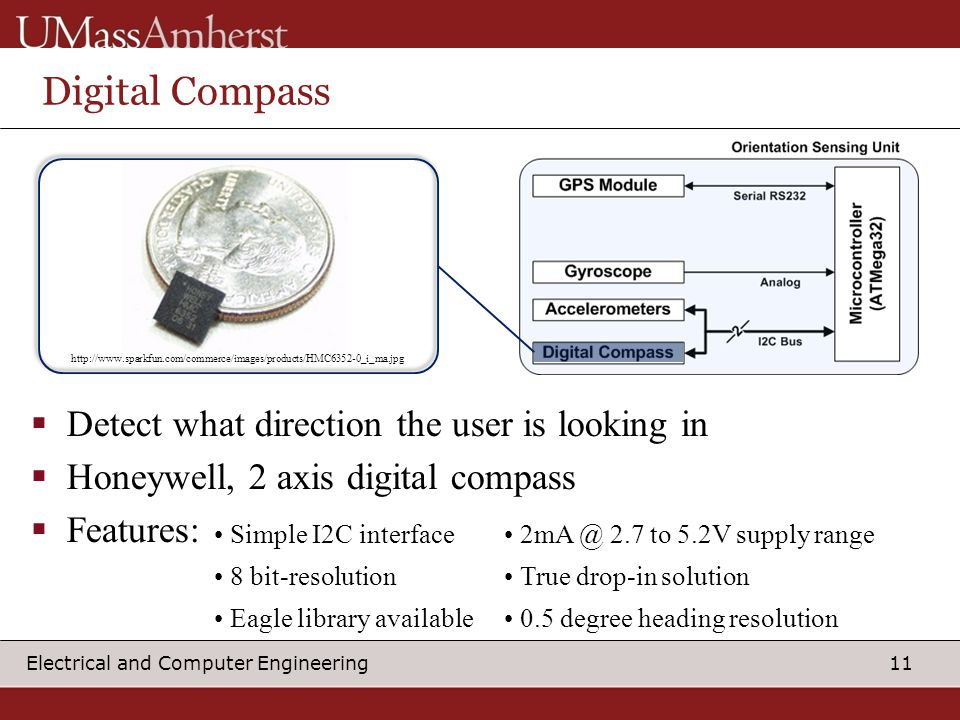 11 Electrical and Computer Engineering Digital Compass  Detect what direction the user is looking in  Honeywell, 2 axis digital compass  Features: Simple I2C interface 2.7 to 5.2V supply range 8 bit-resolution True drop-in solution Eagle library available 0.5 degree heading resolution