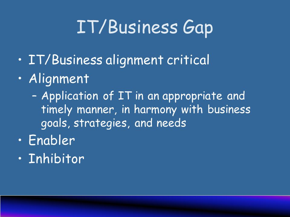 IT/Business Gap IT/Business alignment critical Alignment –Application of IT in an appropriate and timely manner, in harmony with business goals, strategies, and needs Enabler Inhibitor